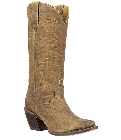 Lucchese Laurelie Distressed Floral Print Leather Western Boots
