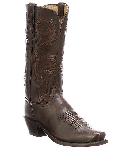 Lucchese Nicole Square Toe Leather Tall Western Boots