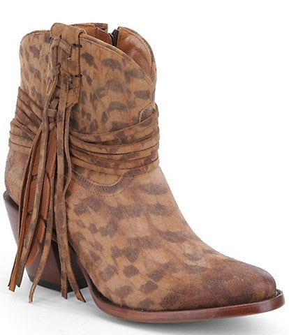 Lucchese Robyn Printed Suede Side Fringe Western Booties