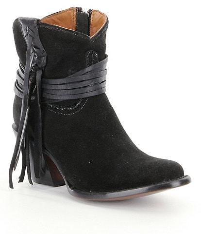 Lucchese Robyn Western Suede Fringe Detail Block Heel Booties