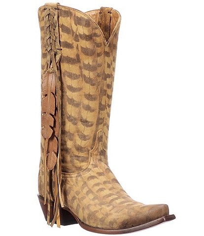 Lucchese Tori Printed Suede Fringe Western Boots