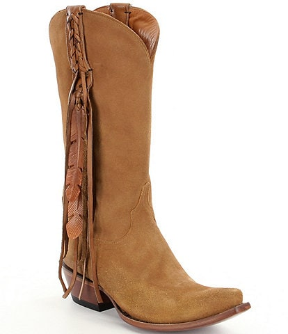 Lucchese Tori Suede Fringe & Feather Western Boots