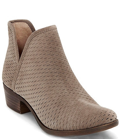 Lucky Brand Baley Perforated Suede Slip-On Block Heel Ankle Booties
