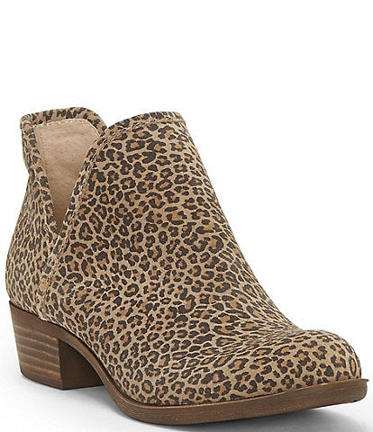 Lucky Brand Baley2 Leopard Print Suede Slip-On Block Heel Ankle Booties