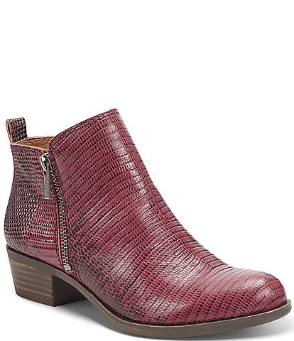 Lucky Brand Basel Printed Leather Side Zip Block Heel Ankle Booties