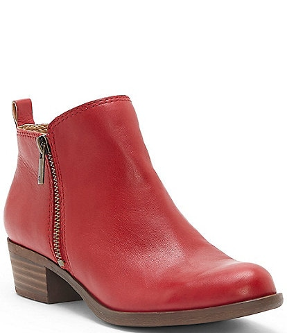 Lucky Brand Basel Smooth Leather Side Zip Block Heel Booties