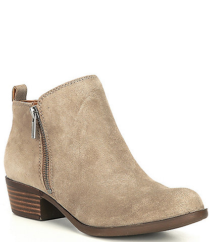 Lucky Brand Basel Suede Block Heel Ankle Booties