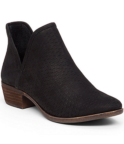 Lucky Brand Bashina Suede Leather Block Heel Booties