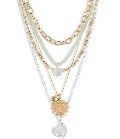 Lucky Brand Beaded Statement Chain Layer Necklace