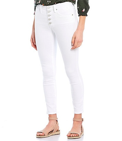 Lucky Brand Bridgette Exposed Button High Rise Skinny Ankle Jeans