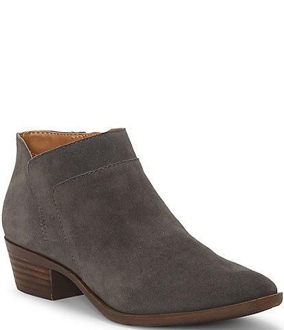 Lucky Brand Brintly2 Suede Side Zip Block Heel Booties
