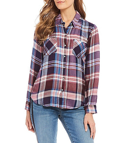 Lucky Brand Button Front Plaid Print Woven Top