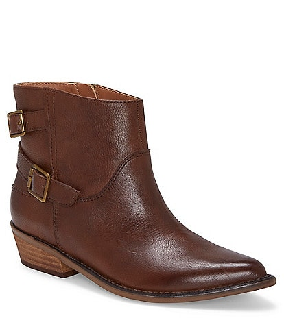 Lucky Brand Caelyn Leather Buckle Detail Block Heel Booties