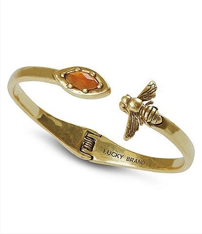 Lucky Brand Citrine Bee Hinge Cuff Bracelet