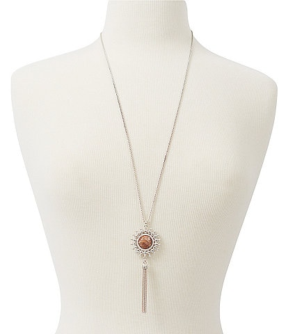 Lucky Brand Dusty Pink Tassel Necklace