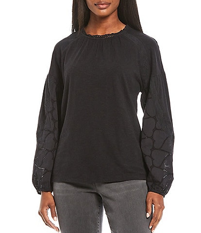 Lucky Brand Eyelet Woven Sleeve Lace-Trimmed Crew Neck Drop Shoulder Knit Top