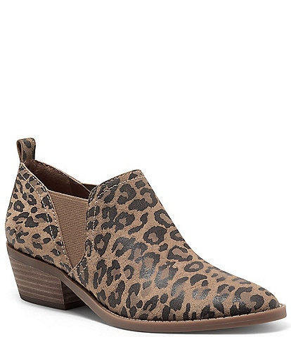 Lucky Brand Fallo Leather Leopard Print Booties