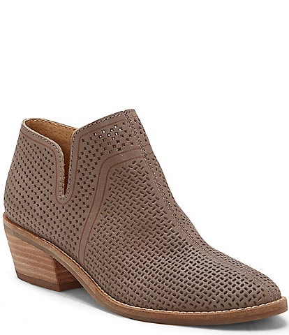 Lucky Brand Feyan Perforated Leather Block Heel Booties