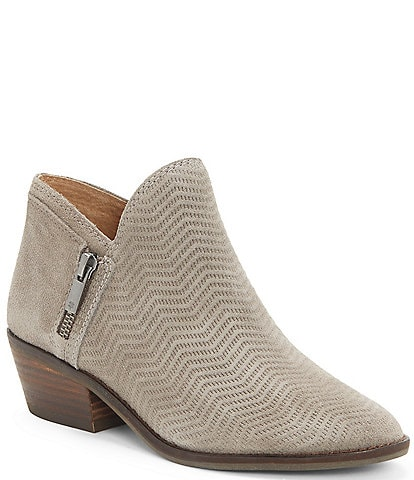 Lucky Brand Fhuna Embossed Suede Block Heel Ankle Booties