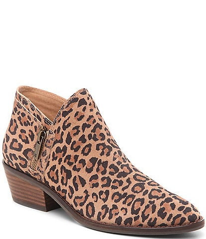 Lucky Brand Fhuna Leopard Print Suede Booties