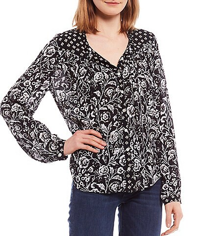 Lucky Brand Floral Print Embroidered Button Down Peasant Top