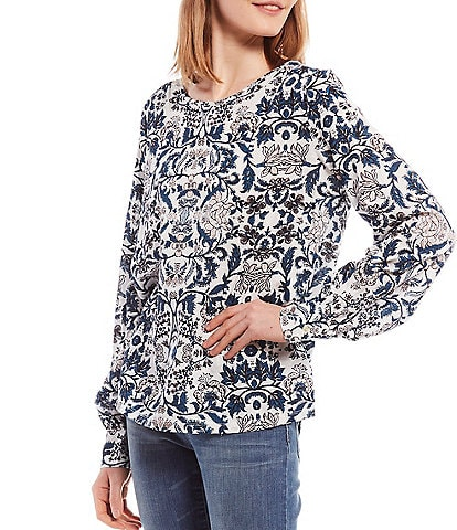 Lucky Brand Floral Print Scoop Neck Long Blouson Sleeve Knit Top