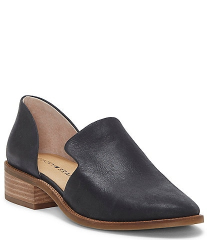 Lucky Brand Gennifa Leather Open Side Stacked Heel Loafers