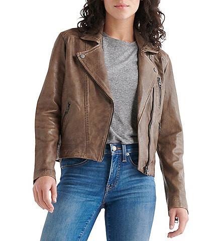 Lucky Brand Genuine Leather Distressed Moto Jacket