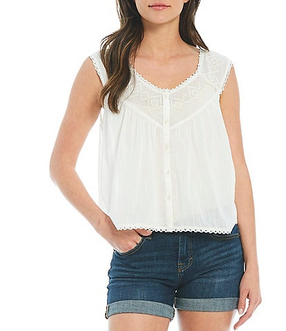 Lucky Brand Geo Embroidered Yoke V-Neck Lace Trim Button Front Top