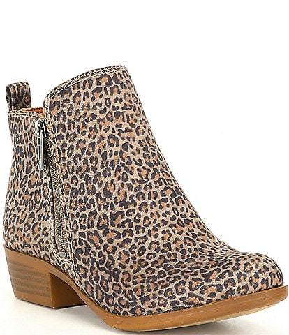 Lucky Brand Girls' Basel Suede Leopard Print Almond Toe Booties (Toddler)