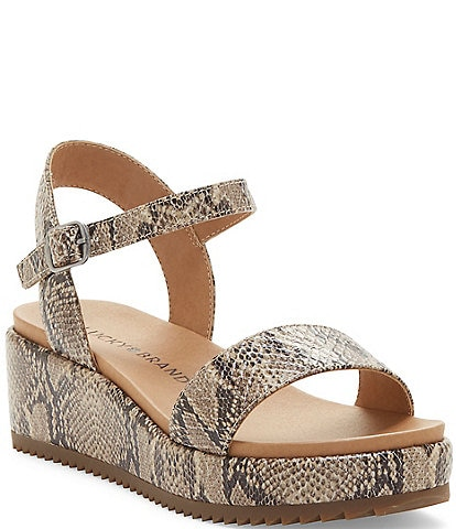 Lucky Brand Girls' Wendei Snake Skin Print Wedge Sandals Toddler