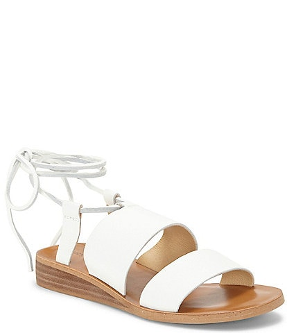 Lucky Brand Hadesha Banded Leather Ankle Wrap Sandals