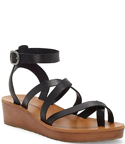 Lucky Brand Huneey Leather Strappy Flatform Wedge Sandals