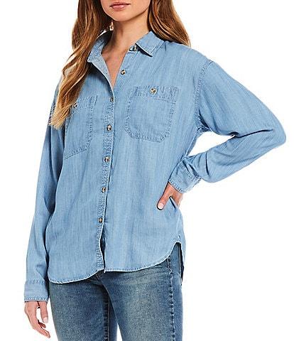Lucky Brand Indigo Button Front Long Sleeve Double Pocket Tencel Shirt