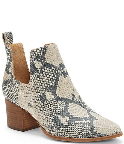 Lucky Brand Jabilo Snake Print Leather Block Heel Western  Booties