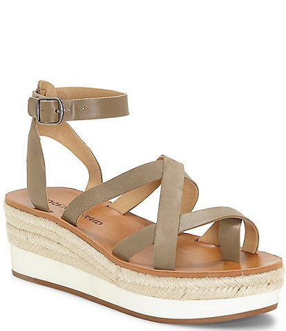 Lucky Brand Jakina Leather Platform Wedge Sandals
