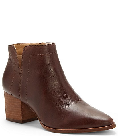 Lucky Brand Jeisa Leather Block Heel Booties