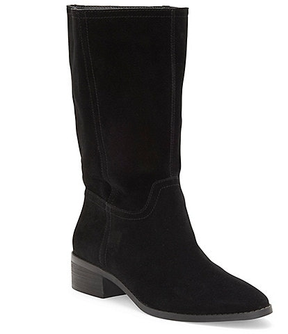 Lucky Brand Lefara Suede Slouch Mid Shaft Block Heel Boots