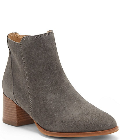 Lucky Brand Lilye Waterproof Suede Block Heel Booties