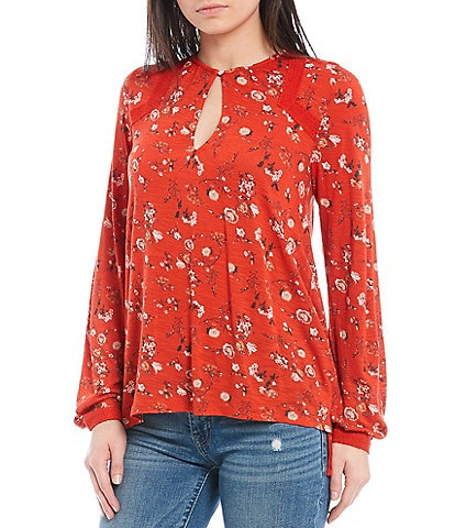 Lucky Brand Long Sleeve Mixed Floral Print Button Neck Top