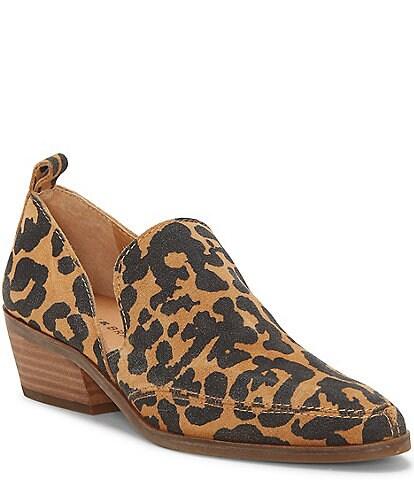 Lucky Brand Mahzan Leopard Print Suede Block Heel Shooties