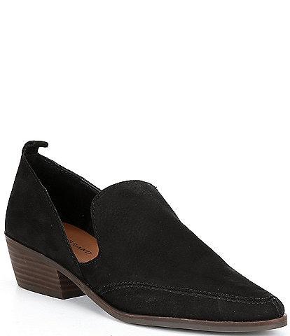 Lucky Brand Mahzan Leather Block Heel Loafers