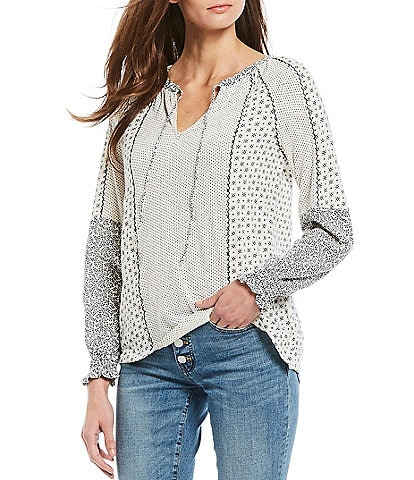 Lucky Brand Mix Print Cotton Long Sleeve Peasant Top