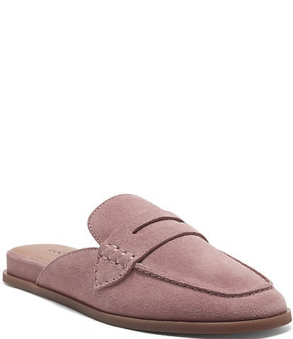 Lucky Brand Patsie Suede Penny Wedge Mules