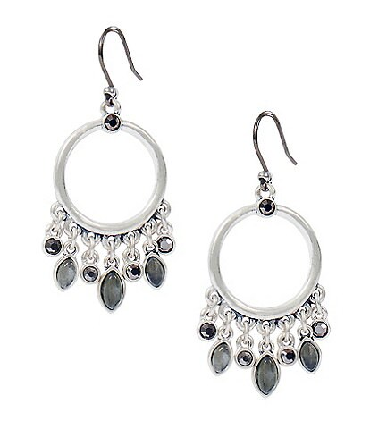 Lucky Brand Pave Stone Hoop Earrings