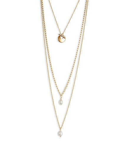 Lucky Brand Pearl Chain Layer Necklace