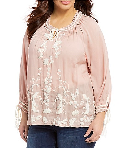 Lucky Brand Plus Size Long Sleeve Solid Embroidered Peasant Top