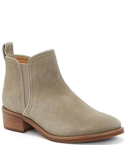 Lucky Brand Pogan Suede Block Heel Booties