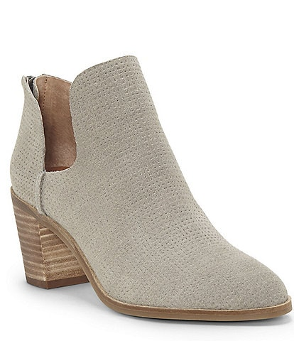 Lucky Brand Powe Leather Block Heel Booties