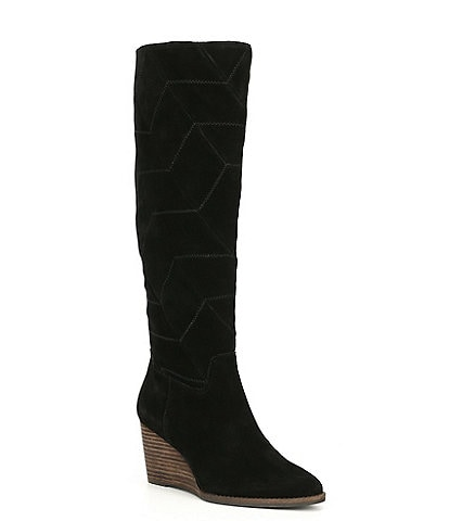 Lucky Brand Preeka Tall Waterproof Suede Chevron Stitch Wedge Boots